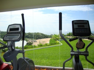 wall of windows for a gym view....who needs a flat screen?